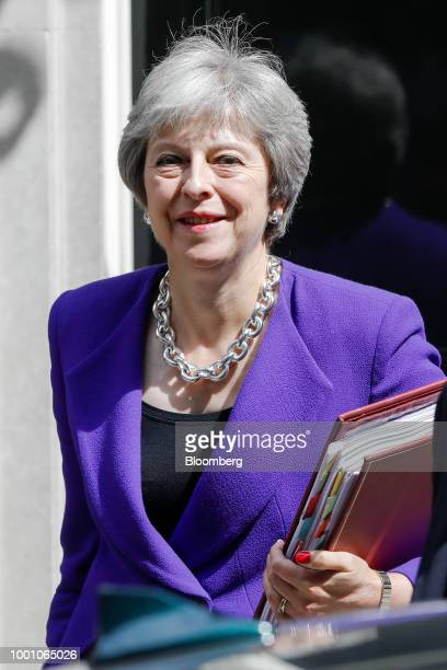 A British Police officer stands outside number 10 Downing Street in London UK on Wednesday July 18 2018 For more than a year UK Prime Minister...