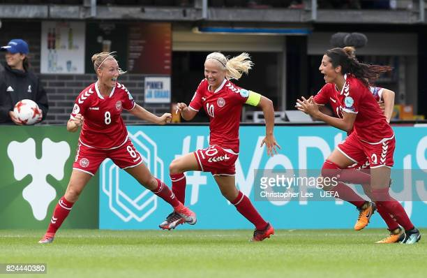 Theresa Nielsen of Denmark celebrates scoring her sides second goal with her Denmark team mates during the UEFA Women's Euro 2017 Quarter Final match...