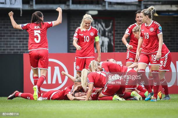 Theresa Nielsen of Denmark celebrates scoring her sides second goal with the team during the UEFA Women's Euro 2017 Quarter Final match between...