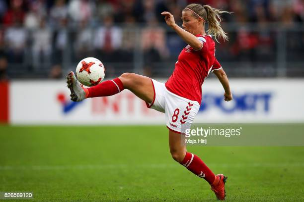 Theresa Nielsen of Denmark controls the ball during the UEFA Women's Euro 2017 Semi Final match between Denmark and Austria at Rat Verlegh Stadion on...