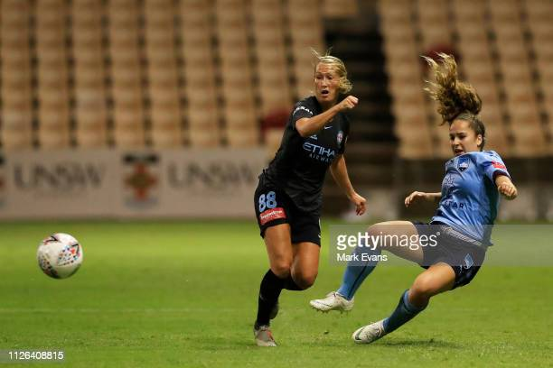 Theresa Nielsen of Melbourne City competes for the ball with Julia Vignes of Sydney FC during the round 14 W-League match between Sydney FC and...