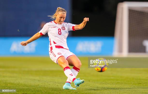 Theresa Nielsen of the Danish women's national team kicks the ball towrds the goal during the second half against the Danish women's national team at...