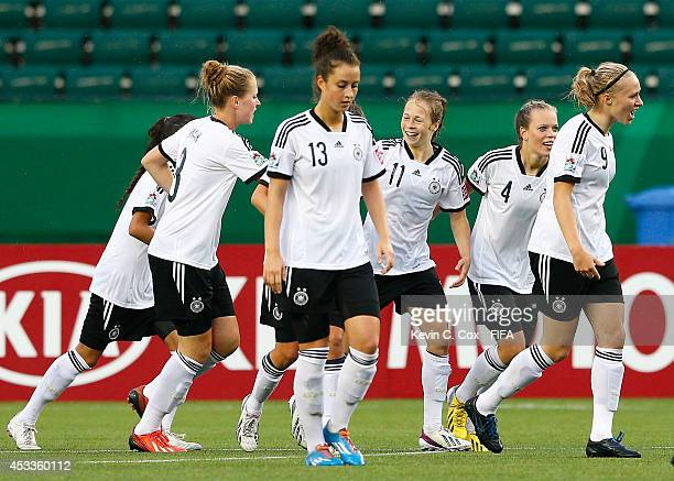 Theresa Panfil of Germany celebrates scoring a goal against China PR at Commonwealth Stadium on August 8 2014 in Edmonton Canada