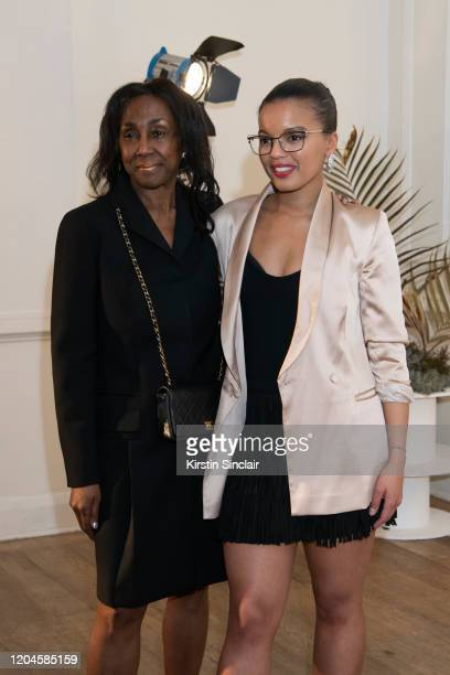 Theresa Roberts with fashion designer Shanna Bent Maison Bent AW20 Presentation at Pushkin House on February 06 2020 in London England