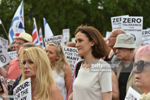 MP Theresa Villiers Jewish people protesting against antisemitism in the Labour Party in Parliament Square organised by the Campaign Against...