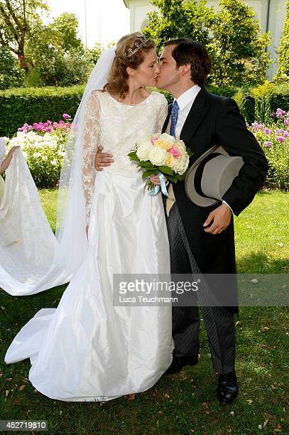 Theresa von Einsiedel and Prince Francois von Orleans depart from the wedding ceremony of wedding of Prince Francois von Orleans and Theresa von...