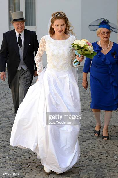 Theresa von Einsiedel attend the wedding of Prince Francois von Orleans And Theresa von Einsiedel on July 26 2014 in Straubing Germany