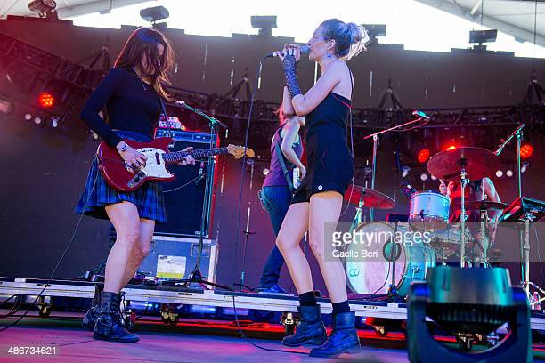 Theresa Wayman and Emily Kokal of Warpaint perform on stage during Coachella Music Festival on April 12 2014 in Coachella United States