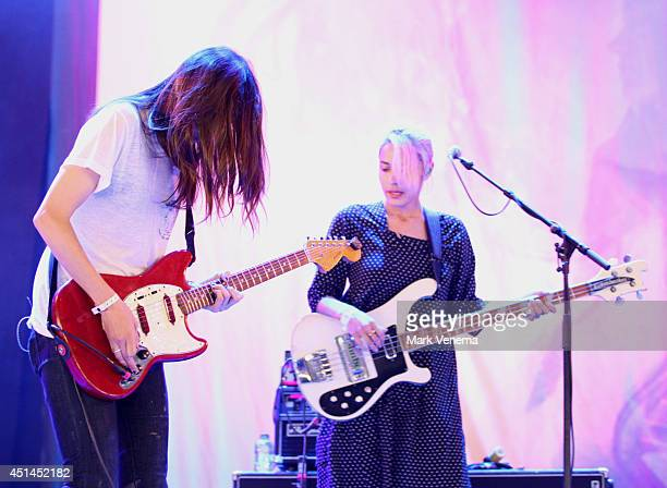 Theresa Wayman and Jenny Lee Lindberg of Warpaint perform at Day 3 of Down The Rabbit Hole Festival at De Groene Heuvels on June 29 2014 in Beuningen...