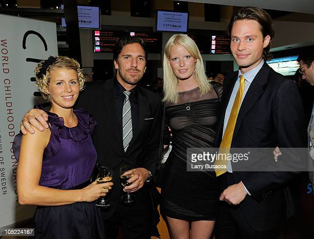Therese Anderson, New York Rangers goalie Henrik Lundqvist, model Caroline Winberg and Fredrik von der Esch attend the Launch of The World Childhood...