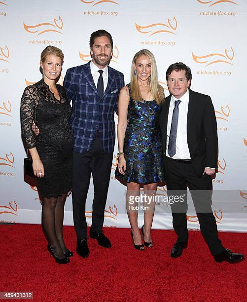 Therese Andersson Henrik Lundqvist Tracy Pollan and Michael J Fox attend 2014 A Funny Thing Happened On The Way To Cure Parkinson's event at The...