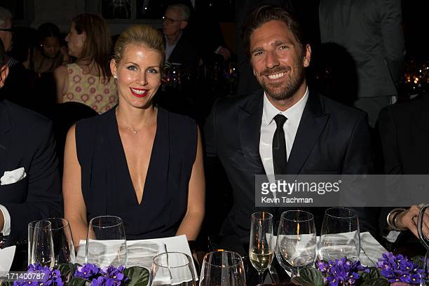Therese Andersson left and Henrik Lundqvist attend the dinner to celebrate Italo Zucchelli's ten years as Calvin Klein Collection's mens creative...