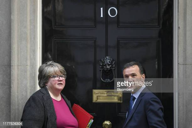Therese Coffey UK work and pensions secretary left and Alun Cairns UK Welsh secretary arrive for a weekly meeting of cabinet ministers at number 10...