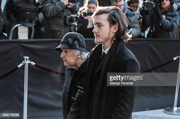 Therese Dion and Rene Charles Angelil arrive for the state funeral service for Celine Dion's husband Rene Angelil at NotreDame Basilica on January 22...