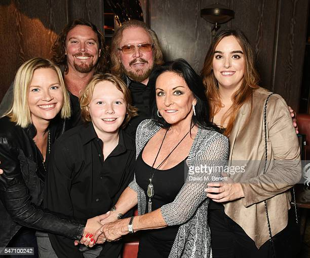 Therese Gibb Ashley Gibb Lucas Gibb Barry Gibb Linda Gibb and Alexandra Gibb attend the Sony Music UK Summer Party at Sexy Fish on July 13 2016 in...