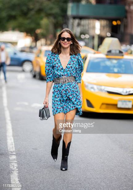 Therese Hellström is seen wearing belted dress with floral print outside Collina Strada during New York Fashion Week September 2019 on September 08,...