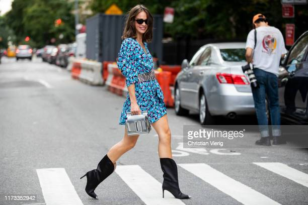 Therese Hellström is seen wearing belted dress with floral print outside Collina Strada during New York Fashion Week September 2019 on September 08...