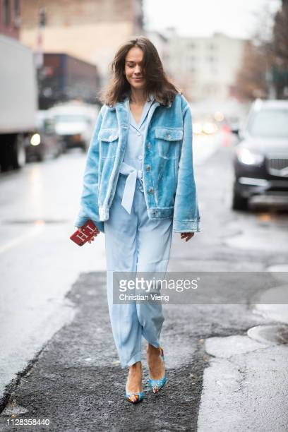 Therese Hellström is seen wearing blue teddy jacket high waist pants blouse outside Nanushka during New York Fashion Week Autumn Winter 2019 on...