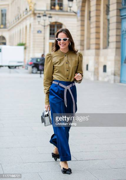 Therese Hellström seen wearing leather button shirt navy pants silver Boyy bag outside Guy Laroche during Paris Fashion Week Womenswear Spring Summer...