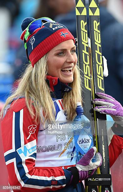 Therese Johaug from Norway ahead of the flowers ceremony in the Ladies 30km Mass Start Classic at FIS Nordic World Ski Championship 2015 in Falun...