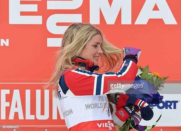 Therese Johaug from Norway during the flowers ceremony in the Ladies 30km Mass Start Classic at FIS Nordic World Ski Championship 2015 in Falun...