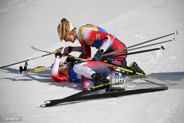 Therese Johaug of Norway and Ingvild Flugstad Oestberg of Norway celebrates after the Cross Country Skiathlon Ladies 15k race during FIS Nordic World...