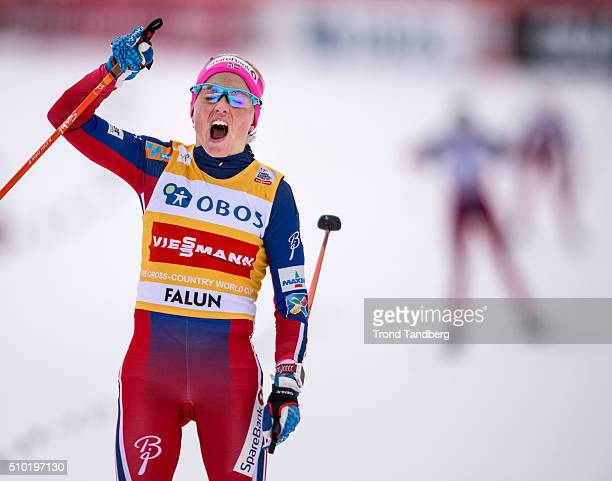 Therese Johaug of Norway celebrate victory Cross Country Ladies 100 km Mass Start Free on February 14 2016 in Falun Sweden