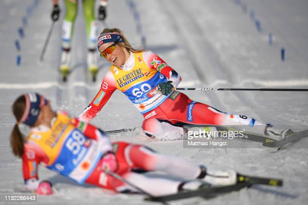 Therese Johaug of Norway celebrates next to third placed Ingvild Flugstad Oestberg of Norway after winning the CrossCountry Women's 10k race of the...