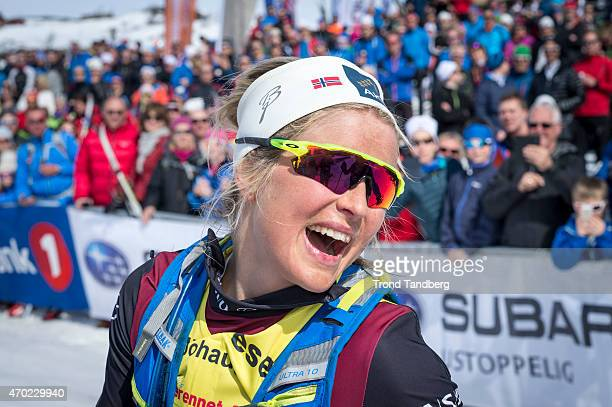 Therese Johaug of Norway celebrates victory after winning ladies group at Skarverennet on April 18 2015 in Geilo Norway