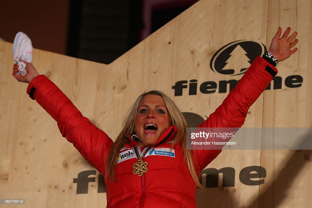 Therese Johaug of Norway celebrates winning Gold at the medal ceremony for the Women's Cross Country Individual 10km at the FIS Nordic World Ski Championships on February 26, 2013 in Val di Fiemme, Italy.