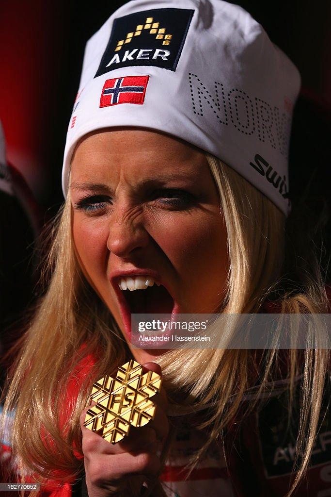 Therese Johaug of Norway celebrates with her Gold medal at the medal ceremony for the Women's Cross Country Individual 10km at the FIS Nordic World Ski Championships on February 26, 2013 in Val di Fiemme, Italy.