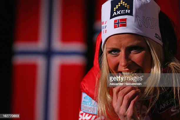 Therese Johaug of Norway celebrates with her Gold medal at the medal ceremony for the Women's Cross Country Individual 10km at the FIS Nordic World...