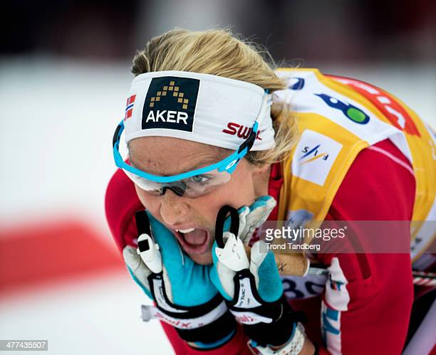 Therese Johaug of Norway compete during the FIS CrossCountry World Cup Ladies 30 km Mass Start Classic on March 9 2014 in Oslo Norway