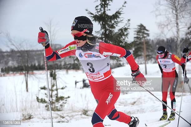 Therese Johaug of Norway competes during the FIS World Cup Crosscountry women's Skiathlon 75 km Classic 75 km freestyle competition in Rybinsk on...