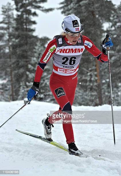 Therese Johaug of Norway competes during the women's 25km sprint of the FIS World Cup Cross Country on March 18 2011 in Falun Sweden