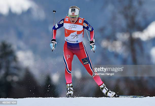 Therese Johaug of Norway competes during the Women's Prologue 3 km Individual Free event for the FIS Cross Country World Cup Tour de Ski on January 3...