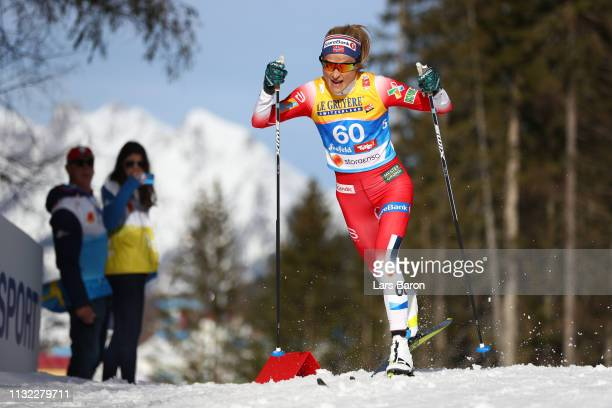 Therese Johaug of Norway competes in the CrossCountry Women's 10k race of the FIS Nordic World Ski Championships at Langlauf Arena Seefeld on...