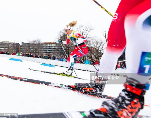 Therese Johaug of Norway competes in the sprint quarterfinal heat during the FIS Cross Country Ski World Cup Final on March 22 2019 in Quebec City...