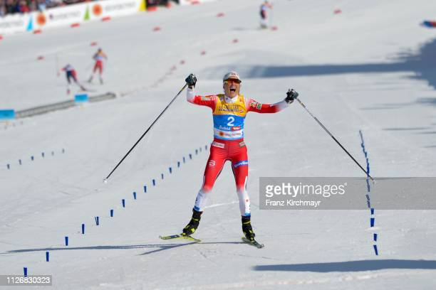 Therese Johaug of Norway during the Women's Cross Country Skiathlon at the FIS Nordic World Ski Championships at Langlauf Arena Seefeld on February...