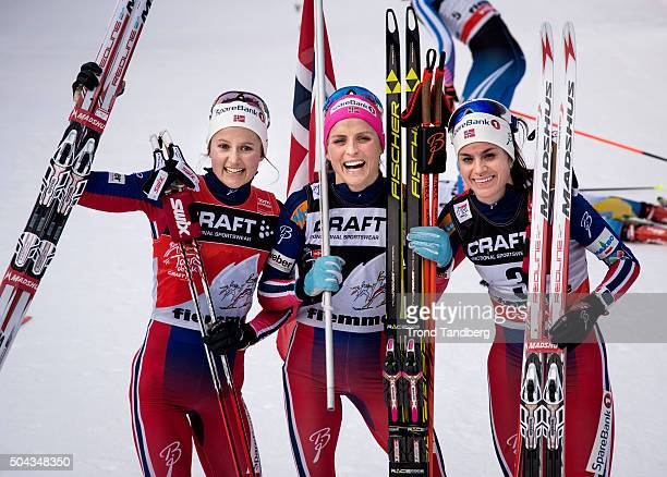 Therese Johaug of Norway Ingvild Flugstad Ostberg of Norway and Heidi Weng of Norway celebrate after the Ladies 90 km Pursuit FreeFinal Climb at FIS...