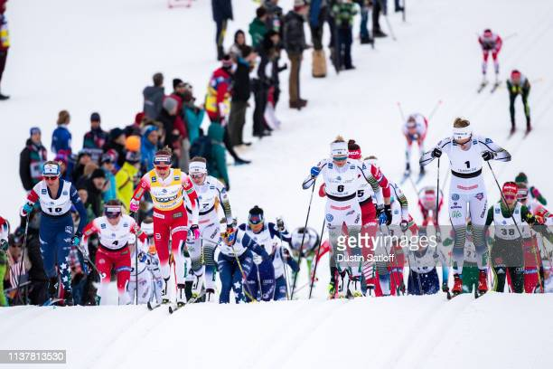 Therese Johaug of Norway Jessica Diggins of the United States Ingvild Flugstad Oestberg of Norway Frida Karlsson of Sweden and Stina Nilsson of...