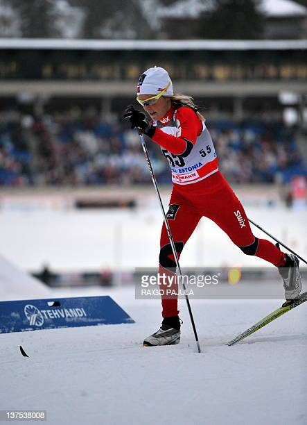 Therese Johaug of Norway skis on January 22 2012 to place third in the women's nordic skiing World Cup 10 kms classicstyle race in Otepaa AFP PHOTO /...