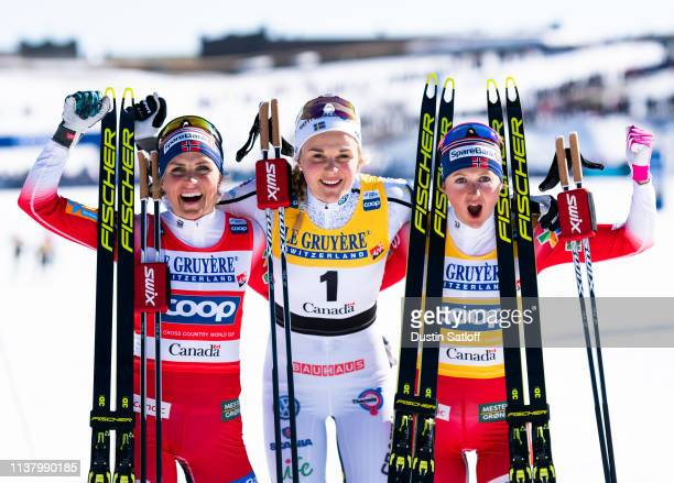 Therese Johaug of Norway, Stina Nilsson of Sweden, and Ingvild Flugstad Oestberg of Norway in the finish area after the Women's 10km freestyle...