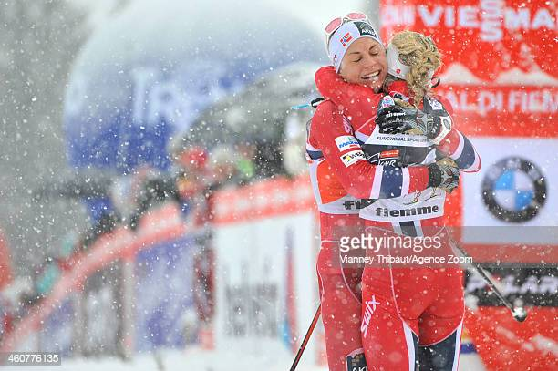 Therese Johaug of Norway takes 1st place Astrid Uhrenholdt Jacobsen of Norway takes 2nd place during the FIS CrossCountry World Cup Tour de Ski...