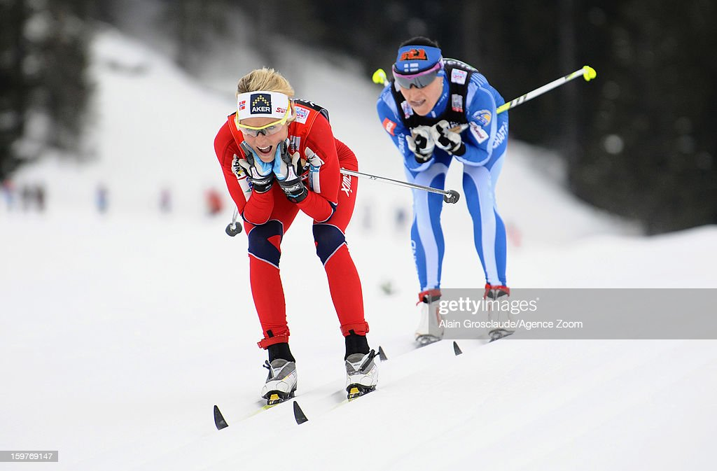 Therese Johaug of Norway takes 1st place during the FIS Cross-Country World Cup Women's Relay Start on January 20, 2013 in La Clusaz, France.
