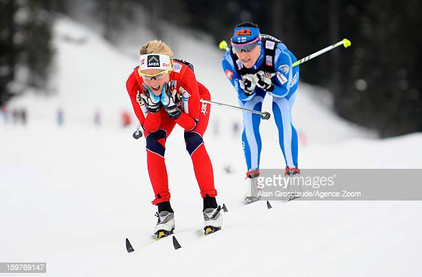 Therese Johaug of Norway takes 1st place during the FIS CrossCountry World Cup Women's Relay Start on January 20 2013 in La Clusaz France