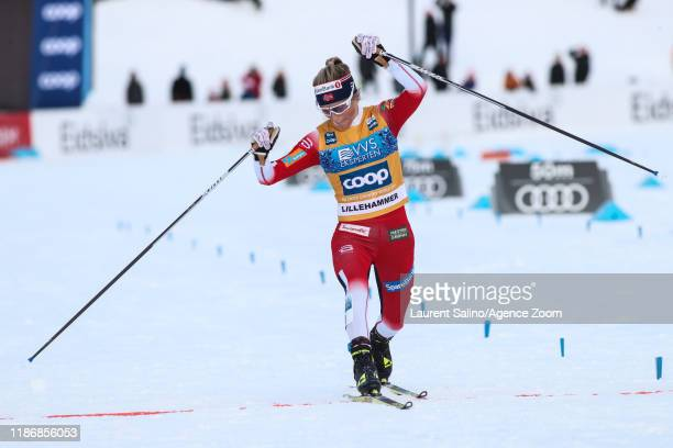 Therese Johaug of Norway takes 1st place during the FIS Nordic World Cup Men's and Women's Cross Country Skiathlon on December 7 2019 in Lillehammer...
