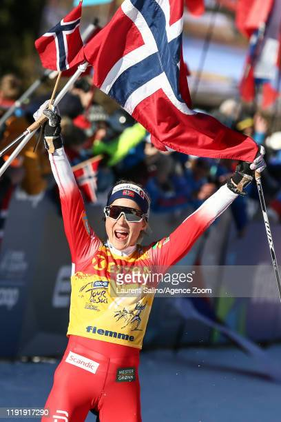 Therese Johaug of Norway takes 1st place during the FIS Nordic World Cup Men's and Women's Cross Country Mass Start on January 5 2020 in Val Di...