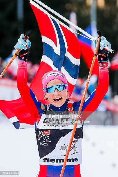 Therese Johaug of Norway takes 1st place during the FIS Nordic World Cup Men's and Women's Cross Country Tour de Ski on January 10 2016 in Val di...
