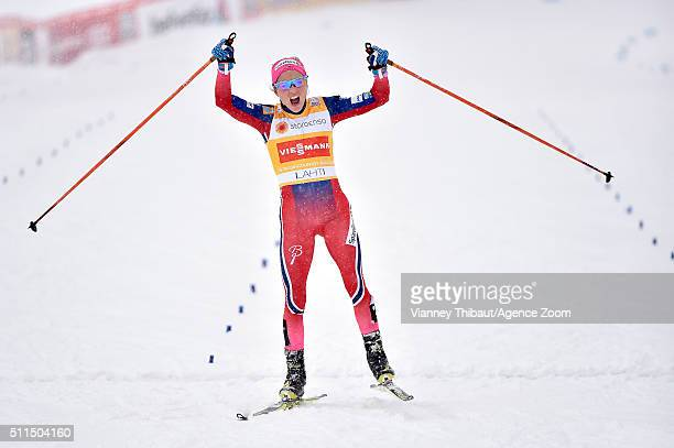Therese Johaug of Norway takes 1st place during the FIS Nordic World Cup Men's and Women's Cross Country Skiathlon on February 21 2016 in Lahti...